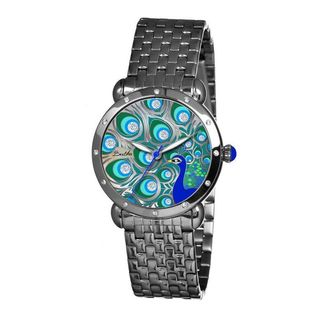 Bertha Women's Genevieve Peacock Crystal Dial Stainless Steel Watch
