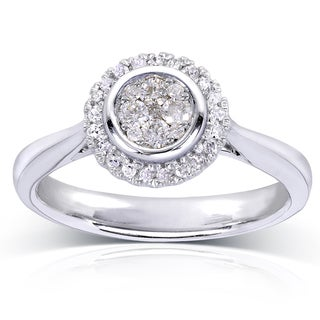 Annello 10k White Gold 1/4ct TDW Cluster and Halo Diamond Engagement Ring (H-I, I1-I2)