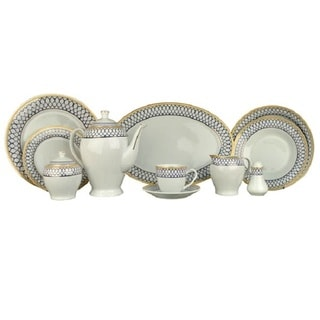 Alpine Cuisine AI18056 White/ Blue 49-piece Dinner Set