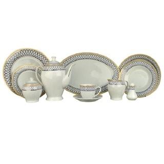 Alpine cuisine ai18056 white blue 49 piece dinner set for Alpine cuisine glass bowl set