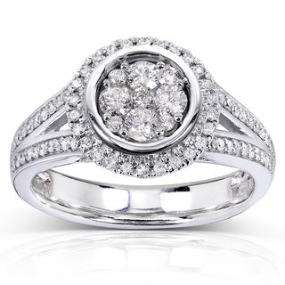 Annello 10k White Gold 5/8ct TDW Cluster and Halo Diamond Engagement Ring (H-I, I1-I2)