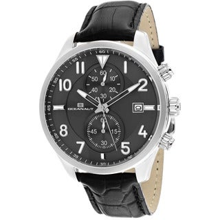Oceanaut Men's Rally Black Leather Chronograph Watch
