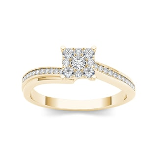 De Couer 10k Yellow Gold 1/3ct TDW Diamond Engagement Ring (H-I, I2)