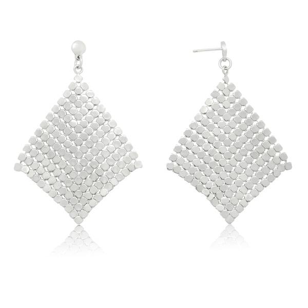 Gioelli Sterling Silver Italian Shiny Disc Trendsetter Dangle Earrings