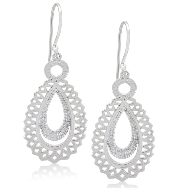 Gioelli Sterling Silver Italian Lace Dangle Oval Earrings