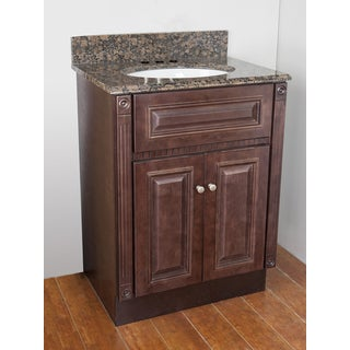 Cherry Stained Vanity and Baltic Brown Granite Top