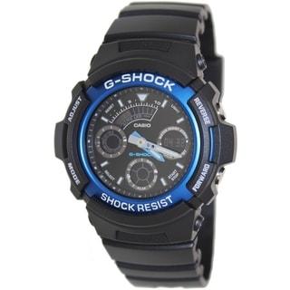 Casio Men's G-Shock AW591-2A Black Resin Analog Quartz Watch with Black Dial