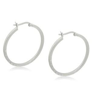 Gioelli Sterling Silver Italian Round Hammered Hoop Earrings