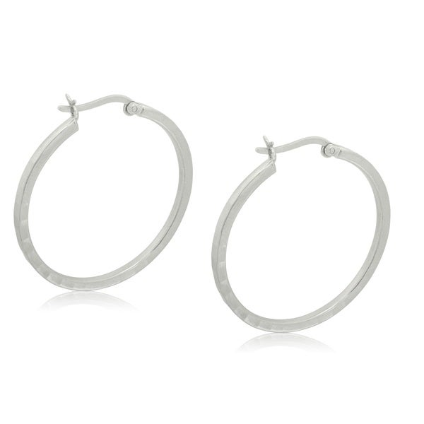 Gioelli Sterling Silver Italian Round Hammered Hoop Earrings