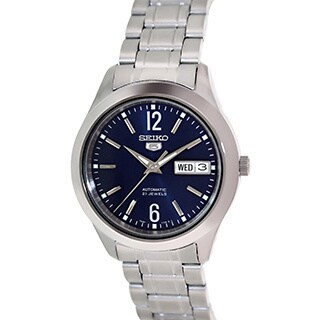 Seiko Men's 5 Automatic SNKM55K Silvertone Stainless Steel Automatic Watch with Blue Dial