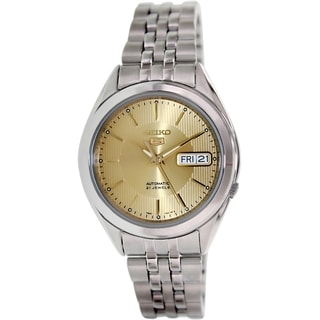 Seiko Women's 5 Automatic SNKL21K Silvertone Stainless Steel Automatic Watch with Goldtone Dial