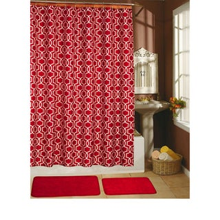 Paragon Red 15-piece Shower Curtain/ Hook/ Bath Rug Set