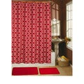 Paragon Red 15-piece Shower Curtain/ Hook/ Bath Rug Set