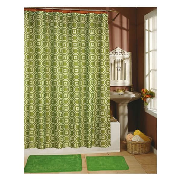 Octagon Sage Shower Curtain, Hooks and Bath Rug 15-piece Set