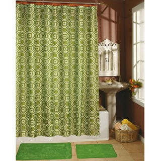 Octagon Sage Shower Curtain, Hooks and Bath Rug 15-piece Set