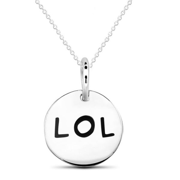 Sterling Silver Circle 'LOL' Necklace