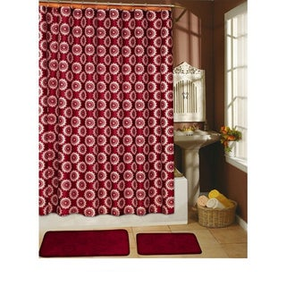 Country Flower Burgundy 15-piece Shower Curtain/ Hook/ Bath Rug Set