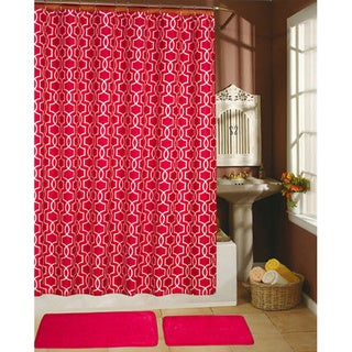 Paragon Fuchsia Decor Collection Shower Curtain, Hooks and Bath Rug 15-piece Set