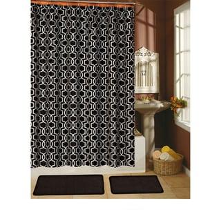 Paragon Black Shower Curtain/ Hook/ Bath Rug 15-piece Set