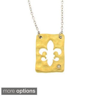 Gioelli Sterling Silver Diamond Accent Fleur De Lis Necklace
