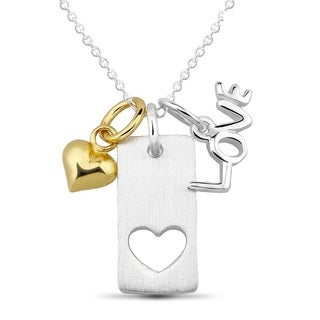Goldplated Sterling Silver Heart, Silver Rectangle with Heart Cut-out and 'LOVE' Charm Necklace