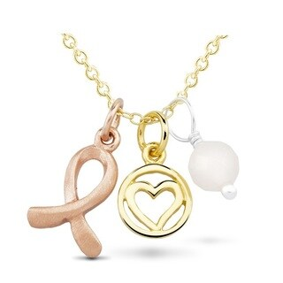 Goldplated Sterling Silver Breast Cancer Ribbon Open Circle Heart Pink Bead Charm Necklace