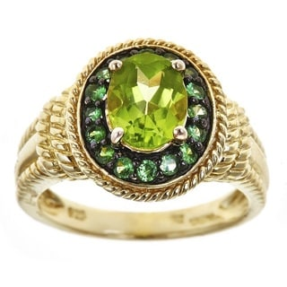 D'yach Gold Over Silver Peridot and Tsavorite Fashion Ring