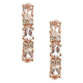 D'yach 14k Rose Gold Morganite 1/10ct TDW Diamond Earrings (G-H, I1-I2)