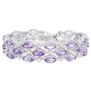 Rhodium-plated 20ct TGW Amethyst Bracelet