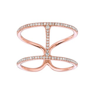 14k Rose Gold 1/5ct TDW Multi-row Double Diamond 'H' Ring (G-H, I1)