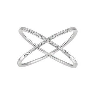 14k White Gold 1/10ct TDW White Diamond X Ring (H-I, I1-I2)
