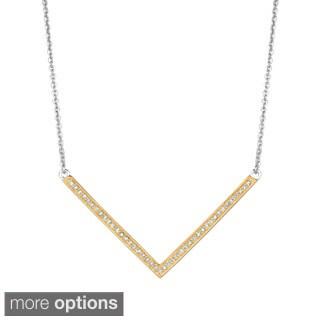 Sterling Silver 1/5ct Diamond Chevron V Necklace (G-H, I1)