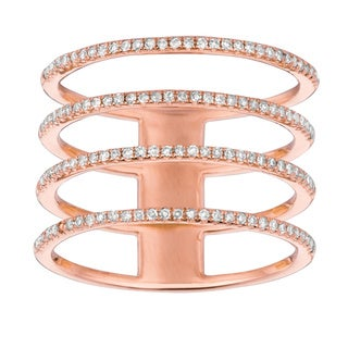 14k Rose Gold 2/5ct TDW Diamond Multi Row Ring (G-H, I1)