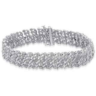 Finesque Sterling Silver 2ct TDW White Diamond Link Bracelet (I-J, I2-I3)