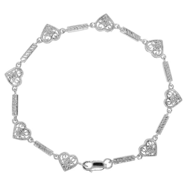 Gioelli Sterling Silver Diamond Cut-out Filigree Heart Bracelet
