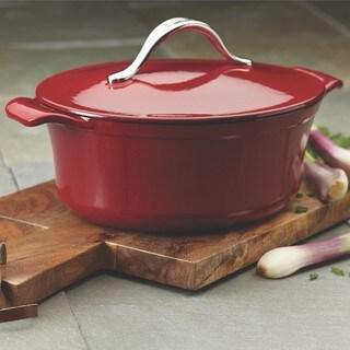 Anolon Vesta Paprika Red Cast Iron 4-quart Oval Covered Casserole Cookware