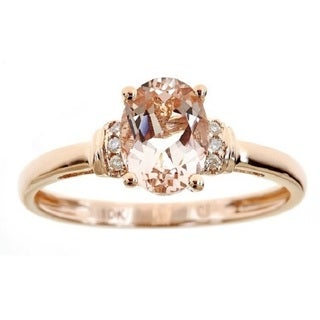 D'Yach 10k Rose Gold Oval-cut Morganite and Diamond Accent Ring