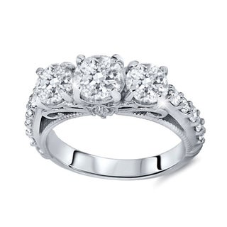 Bliss 14k White Gold 1 1/6 ct Vintage Style Heirloom Diamond Ring (G-H, I1-I2)