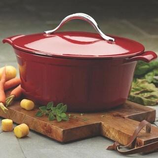 Anolon Vesta Paprika Red Cast Iron Cookware 5-quart Round Covered Casserole Pot