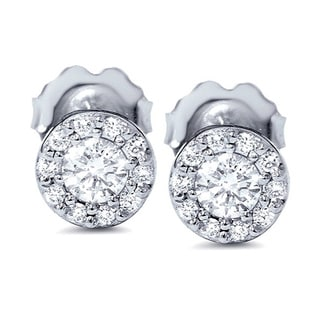 14k White Gold 1/2ct Halo Diamond Studs (G-H, I2-I3)