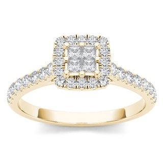 De Couer 10k Yellow Gold 1/2ct TDW Diamond Halo Engagement Ring (H-I, I2)