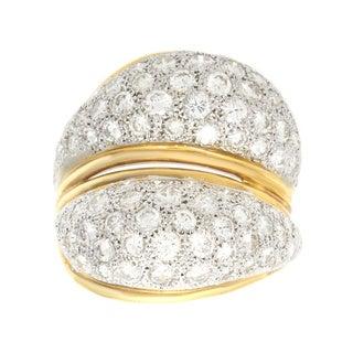 18k Yellow Gold 3ct TDW Pave Diamond Estate Swirl Ring (H-I, VS1-VS2)