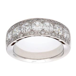 Platinum 2ct TDW Diamond Estate Wedding Band Ring (F-G, VS1-VS2)