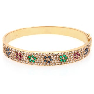 14k Yellow Gold 3ct TDW Diamond Flower Sequence Estate Bangle (H-I, SI1-SI2)