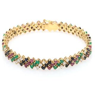 18k Yellow Gold 2 1/2ct TDW Diamond Multi-colored Gem Estate Bracelet (G-H, VS1-VS2)