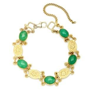 24k Yellow Gold Jade Estate Bracelet