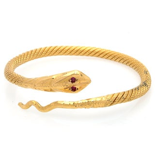 Pre-owned 24k Yellow Gold Ruby Snake Estate Bangle