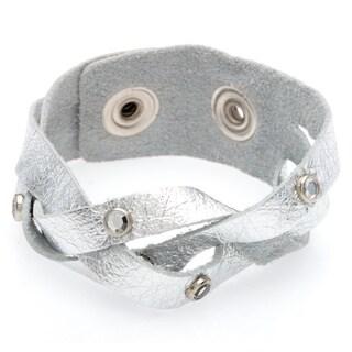 Kele & Co. Silvertone Leather Snap Bracelet