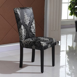 Arbonni Modern Parson Black Floral Chairs (Set of 2)