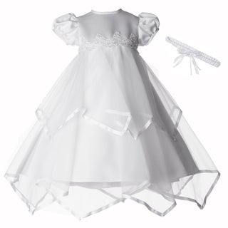 Girls White Christening/ Baptism Long Dress with Headband